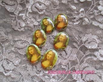 6 Vintage Glass Mona Lisa Cabochons 18x13mm