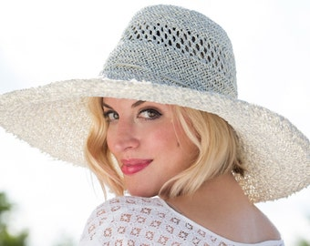 Extra WIDE brim STRAW HAT for women |  Sun hat| Handmade by Anne DePasquale Millinery | Resort Beach Hat | Classic Sun Hat