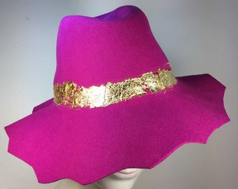 Pink Floppy Wool hat, Floppy Hat for women, Hot Pink Hat, Wool Hat, Spring Fashion, Bohemian chic