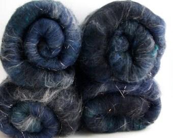 Midnight Soft Carded Batt - Merino/Rambouillet/Mohair/Silk/Yak/Glitz 3.4 oz.