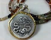 RESERVED FOR L sale Ancient Greek coin Pendant, Healing coin in 22 kt gold and sapphire strand necklace, ancient coin jewelry