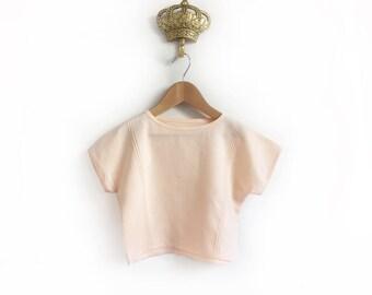 30% SALE -  girls pintuck linen shirt, girls popover blouse, baby linen top, peony pink, peach linen