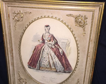 Marie Josephe Hand Colored Etching in Gold Frame