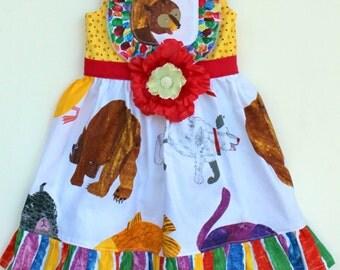 Toddler Dress, Brown Bear Brown Bear Dress, 1st Birthday dress, Girls dress, Baby dress, party dress, spring dress,