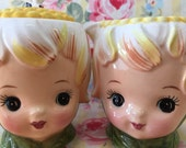 Vintage Lefton Pixie Sugar and Creamer Set.. Adorable!!