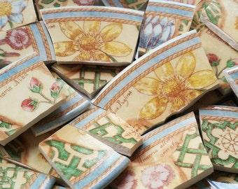Mosaic Tiles--Botanical Garden Path Borders-Floral  38 Tiles
