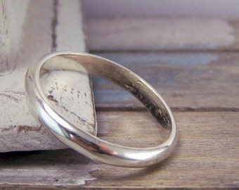 Sterling Silver Plain Wedding Band Ring - Simple band ring