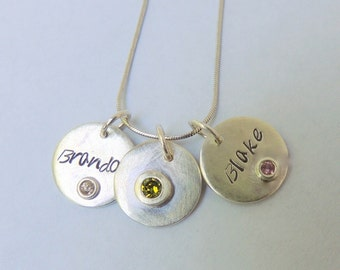Sterling Silver Personalized Birthstone Necklace - Personalized Birthstone jewelry, Birthstone Jewelry