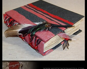 Scarlet Midnight...Patchwork... Glass Beaded XL Handmade Journal / Sketch Book and Quill Pen...Guest Book...Refillable BOS