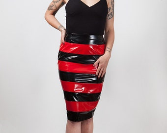 Stripes Pvc Pencil Wiggle Skirt, Gothic, Custom Size