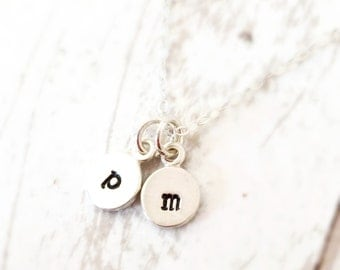 Initial Necklace - Sterling Silver Small Letter Charm Necklace - Personalized Necklace - Bridesmaid Gift - Birthday - Back to School