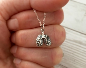 Anatomically Correct Human Lungs Necklace - Sterling Silver - Lung Jewelry - Anatomically Correct Jewelry