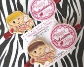 Happy Valentine's Day Cupid arrow heart hair clippie set of 2 no slip clips love red glitter YOU CHOOSE Blonde or Brunette cherub