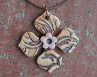 Rustic Petals With Pale Pink Flower Porcelain Pendant
