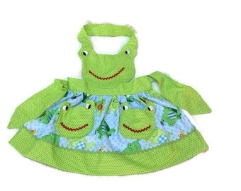 Child Green Frog  Apron Size 4