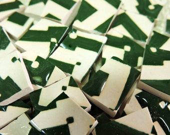 Mosaic Tiles - DaRK GREeN & WHiTE ZiG ZaG - China Mosaic Tiles