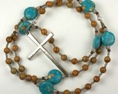 Lutheran Rosary Prayer Beads in Turquoise and Silver
