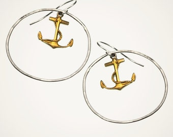 anchor earrings with handmade hammered hoop, sterling silver