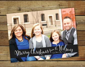 Whimsical Christmas card, Merry Christmas in handwriting script, custom colors to match your photo, holiday card, custom personalized card