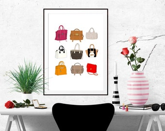 9 Designer Handbags Fashion Illustration Art Poster