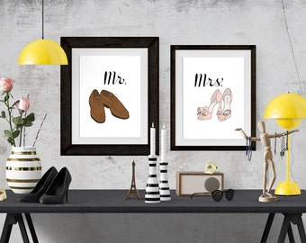 Mr. and Mrs. Fashion Illustration Art Poster Set