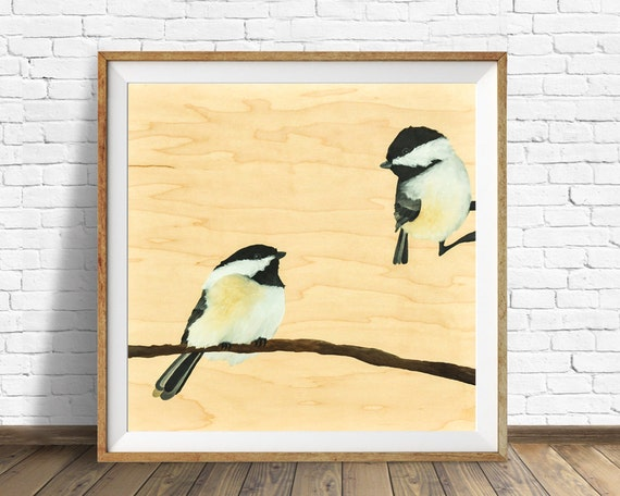 "chickadee, birds, print, wall art, large art, large wall art, modern art, modern wall art, wood, wood grain, art print, art - ""Chickadees"""