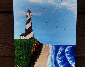 Lighthouse , 8x10 Acrylic painting
