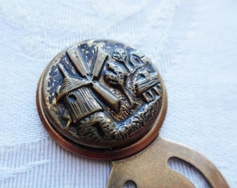Bookmark- Antique Button- Windmill