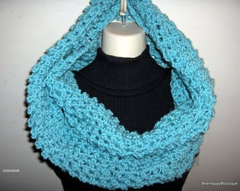 SALE 10% Large Womens CircleReady to Mail Cowl Extra Large Crochet Infinity Oversized Light Teal Blue Cowl Oversized Scarf Handmade Chunky