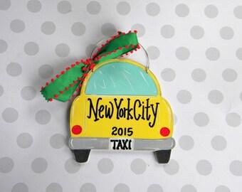 Travel Ornament - Taxi Ornament - Vacation  - Car Ornament - Personalized Ornament - Painted Ornament - Cab Ornament - Wood Ornament
