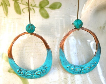 Hoop earrings. patina, dangle, rustic , boho jewelry. Tiedupmemories