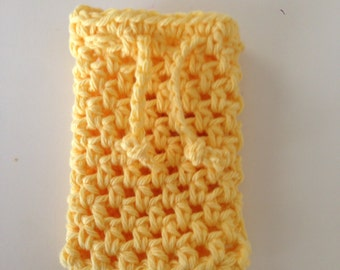 Crochet soap saver in yellow, soap sack, soap holder