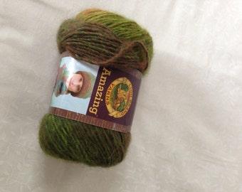 Lion Brand Amazing Yarn in rainforest, mix of green and browns, destash yarn