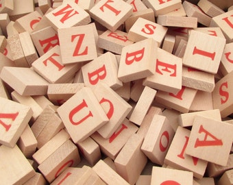 204 Wooden Letter Tiles - Anagrams Game - Alphabet Tiles - Scrabble Tiles