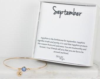 Personalized September Birthstone Gold Bangle Bracelet, Personalized Gold Bracelet, Sapphire Bangle, September Birthstone Bracelet #773