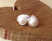 Pearl Wrapped Bead Stud Earrings - White Pearls and Sterling Silver
