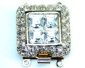 CLSP101GP 2 Strand Gold Plated Square Clasp with crystals Elegant Elements Nickel Free