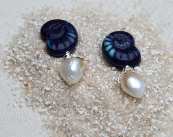 Navy nautilus and freshwater pearl sterling silver earrings