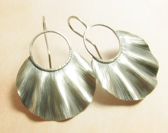 Large Sterling Silver Earrings, Ruffle Earrings, Statement Earrings, Shield Earrings, Contemporary Metalsmith Jewelry, Metalwork Earrings