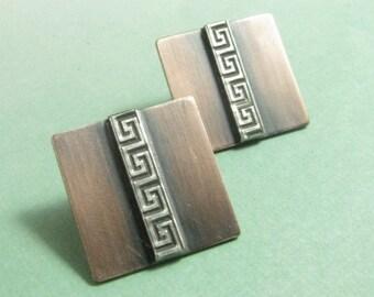 Large Meander Post Earrings, Stud Earrings, Sterling Silver And Copper Earrings, Greek Key Earring, Geometric Earrings, Contemporary Jewelry