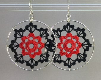 Scallops doily earrings, hand-dyed red and black silk thread