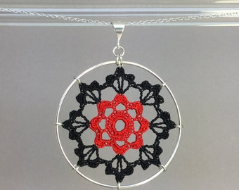 Scallops doily necklace, hand-dyed red and black silk thread