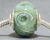 Handmade OOAK Focal Round Lampwork Glass Necklace Bead AKDesigns Mermaid Cyclone