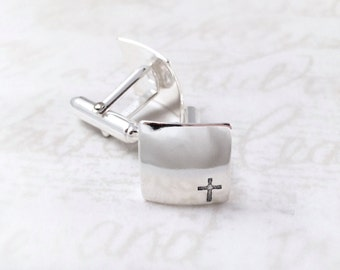 Cross Cuff links, Sterling Silver Cufflinks, Mens Cufflinks, Baptism Gift, Confirmation Gift, personalized cuff links, Custom Handmade