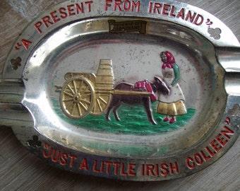 Vintage 50's Souvenier Ashtray Ireland Irish Ashtray FREE SHIPPING