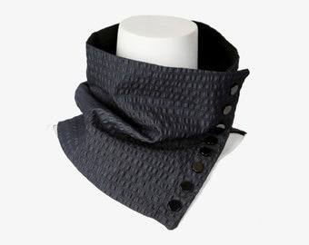 Blue Black SearSucker Denim Scarflette Cowl Tube