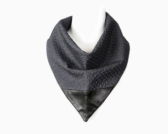 Blue Seersucker Leather Neckerchief Cowl