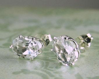 White topaz earrings, topaz jewelry, white topaz in solid sterling silver, white topaz jewelry, gemstone studs, genuine gemstone studs