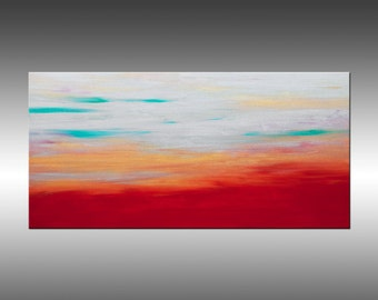 Sunrise 35 - 24x48 Inches, Original Art Abstract Painting Large Colorful Landscape Wall Art Contemporary Canvas Art, Portland, Oregon