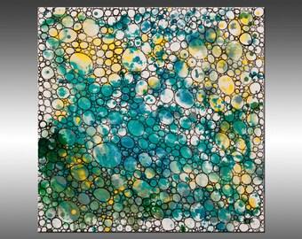 Dimension 9 - 24x24 Inches, Original Art Abstract Painting, Geometric Canvas Wall Art Contemporary Canvas Art, Portland, Oregon